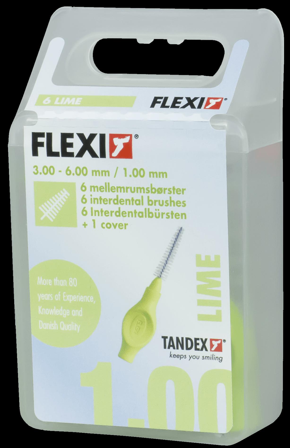 Tandex, FLEXI,  interdentalbørste, 1 mm, lime, 6 stk