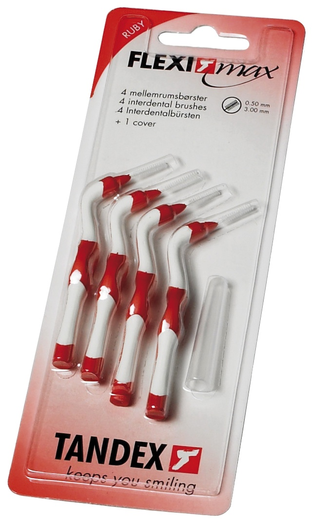 Tandex, FLEXI MAX, interdentalbørste, 0.5 mm, rød, 4 stk