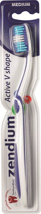 Zendium, tandbørste, V-Shape, medium, 2 pak