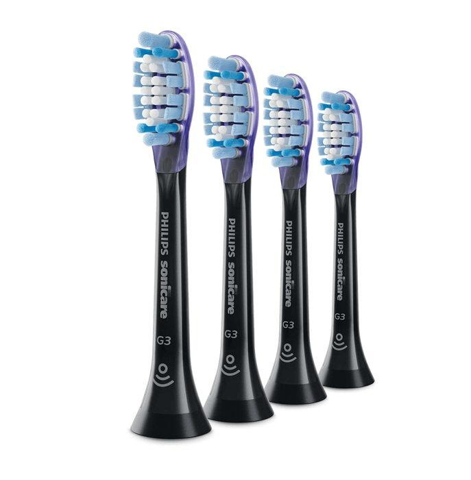 Philips, børstehoved, Smart Gum, sort, blød, 4 stk