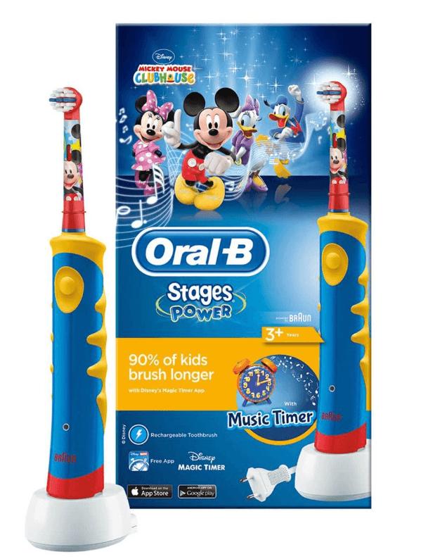 Oral-B, el-tandbørste, Kid Power Mickey, blå/gul